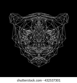 Vector tiger thin line style.  Cat low poly design illustration. Abstract mammal animal. Geometric tiger.