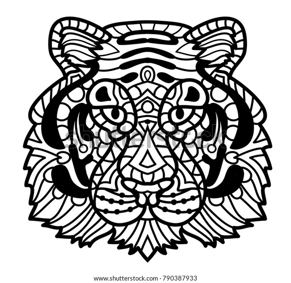 Imposing Tiger With Floral Element - Adult Coloring Page ... | 583x600