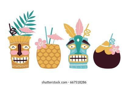 Vector tiki cocktails illustration set isolated on white background