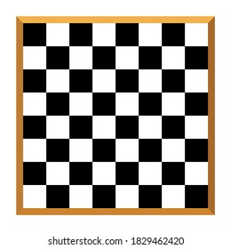 Vector Tile black and  white chessboard with brown wooden edge pattern blank space for use