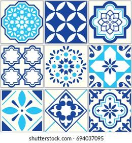 Vector tiles blue pattern, Lisbon floral mosaic, Mediterranean seamless ornament - Azulejos