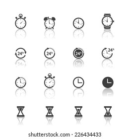 Vector time clock timer icons set isolated on white background