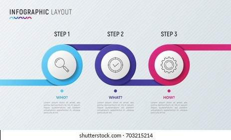 Vector timeline chart infographic design for data visualization. 3 steps, options, processes.