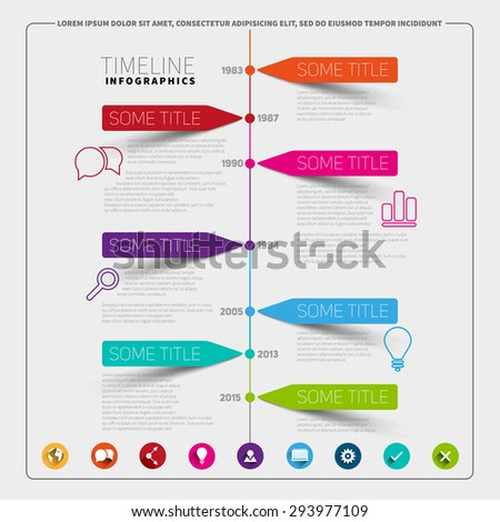 vector timeline infographic report template paper stock vector
