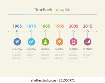 Vector timeline Infographic in retro style with diagrams