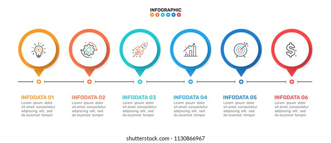 Vector timeline infographic template. Business concept with 6 steps, options or processes and marketing icons. Can be used for workflow diagram, flowchart, presentation or web design.