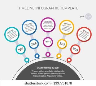 Vector timeline infographic template company milestones circle version
