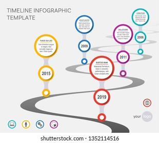 Vector timeline infographic template company milestones wavy path