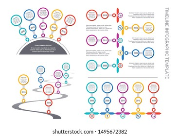 Vector timeline infographic template company milestones big collection