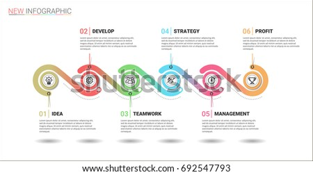 vector timeline infographic template made lines stock vector