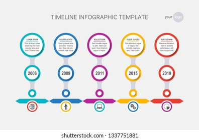 Vector timeline infographic template milestones of your company
