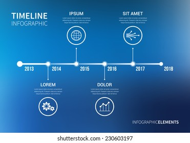 Vector timeline infographic with unfocused background and report template. Modern and clean design