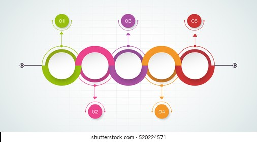 Vector timeline infographics design template with 3D paper label, integrated circles background. Blank space for content, business, infographic, diagram, digital network, flowchart, process diagram