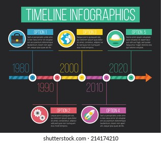 Vector Timeline Infographics. Flat Design Concept Infographics Template with Flat Icons. Isolated on Stylish Dark Black Background.
