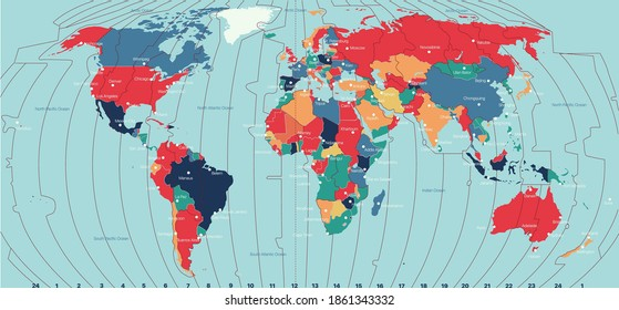 Vector Timezone world map color illustration
