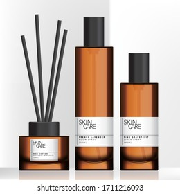 Vector Tinted Brown Glass or Plastic Tall Spray Bottle and Charcoal Reed Aromatic Home Diffuser Set