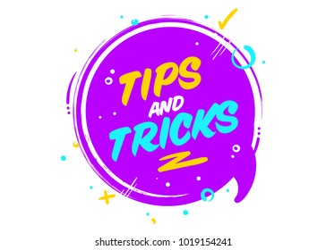 Vector Tips and Tricks Cartoon Icon. Isolated on White. Ultraviolet Rounded Conversation Bubble with Geometric Elements. Useful Lifehack Badge. Helpful Facts. Information Message.