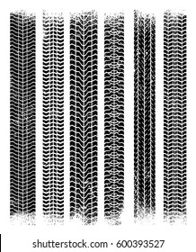 Vector tire tracks. Isolated background.