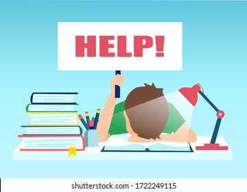 Vector of a tired little boy sitting at the table with pile of books and holding help sign.