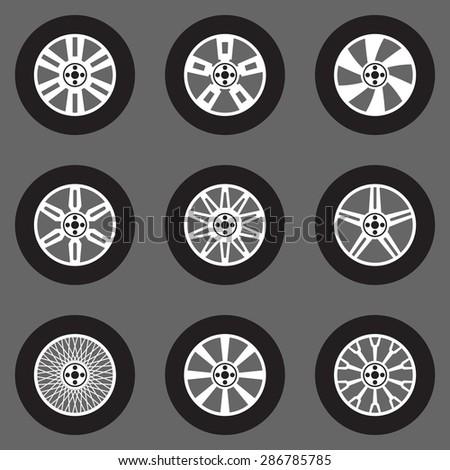 Vector Tires Icons Set Car Wheels Stock Vector Royalty Free