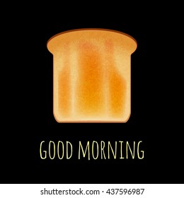 Vector toast isolated on black. Toast bread vector illustration. Realistic bread slice on black. Vector breakfast toast concept. Toast icon isolated.