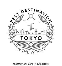 Vector Tokyo City Badge, Linear Style
