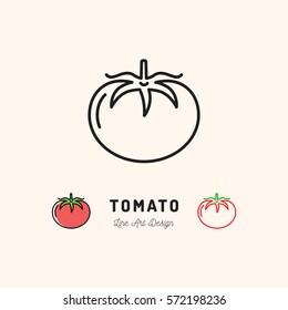 Vector Tomato icon Vegetables logo. Thin line art design, outline illustration