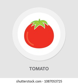vector tomato illustration, vegetarian nutrition symbol - fresh, healthy and organic
