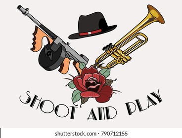 Vector Tommy Gun, Trumpet and Gangster's Hat Tattoo Style Composition