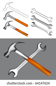Vector tools illustration - Hammer and Spanner