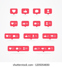 Vector Tooltip Speech Bubble Like, Unlike, Follower, Comment, Notification, Heart, User Icon Set. Social Network Icons Counter Collection Pack