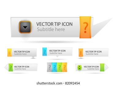 Vector tooltips. Collection of web speech boxes and bubbles