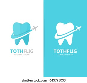 Vector of tooth and airplane logo combination. Dental and travel symbol or icon. Unique clinic and flight logotype design template.