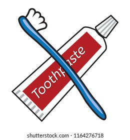 vector toothbrush and toothpaste tube drawing isolated on white background. dental care hygiene illustration. Tooth brush and toothpaste tube flat icon.