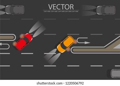 vector top view car u turn on the road.u turn sign.turn signal