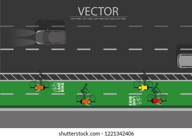 vector top view lane bike symbol on the street