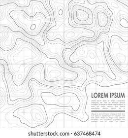 Vector topographic contour map background.