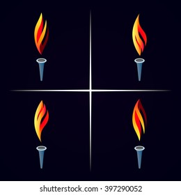 Vector torch icon set. Burning olympic torch icon.