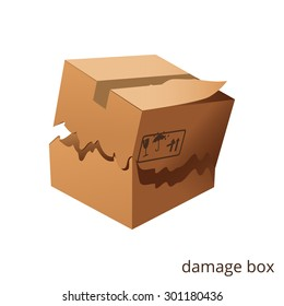 Vector torn and damage box, cargo, goods