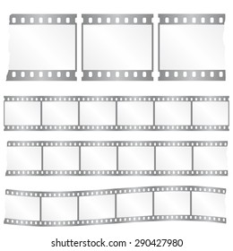 Vector torn film strips - waveform and straight strip. Insulated windows - you can create variable long straight filmstrip. Color silver/grey. Eps 10 vector file.