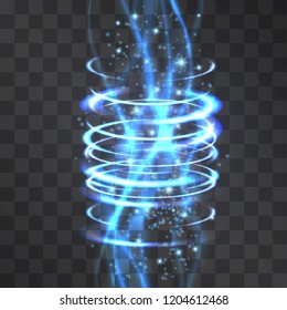 Vector tornado glitter waves neon light effect with cold blue circles background, glowing decorative cylinder. Luminous swirling rings stream going up. Illustration of round meditative hi tech shapes.