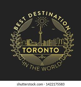 Vector Toronto City Badge, Linear Style