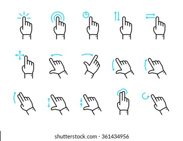 Vector touch screen gestures icons set // 01