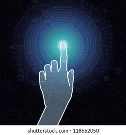 Vector touchscreen concept - hand touching internet sign