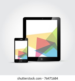 Vector Touchscreen devices, a mobile phone and a tablet.