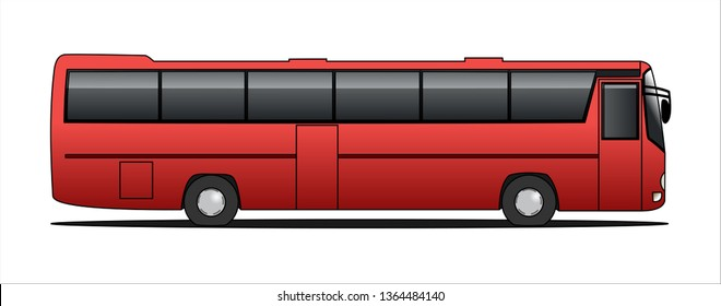 Vector tourist bus, side view, template isolated on white background. Passenger transport for corporate identity and advertising design.