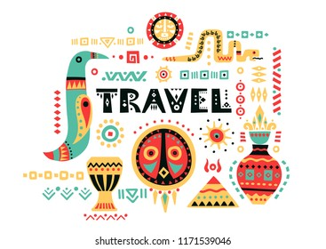 "Vector tourist poster with hand-drawn african symbols and lettering ""Travel""."