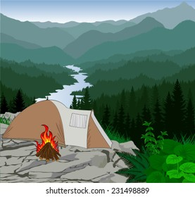 Vector tourist tent in mountains forest camp