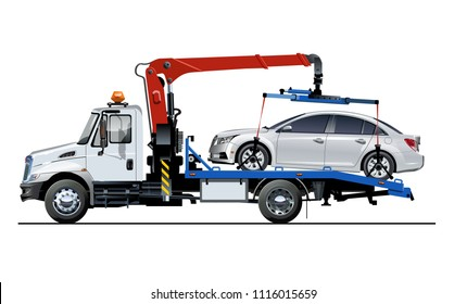 Vector tow truck template isolated on white. Available EPS-10 separated by groups and layers for easy edit