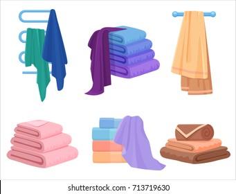 Vector Towels set. Cloth towel for bath. Cartoon Vector illustration.